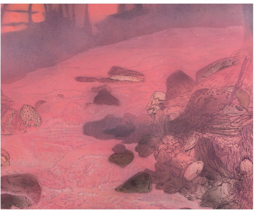 <em>iron creek,</em> (detail) colored pencil, watercolor and acrylic paint, 52