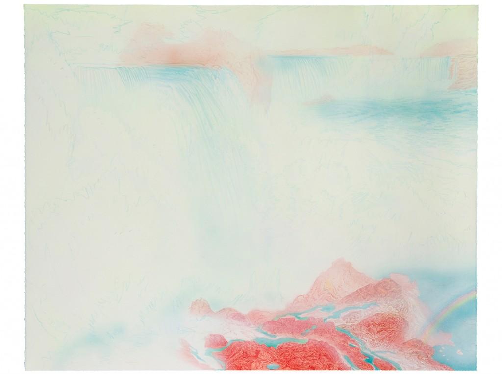 <em>cascade,</em> colored pencil, watercolor and acrylic paint, 52
