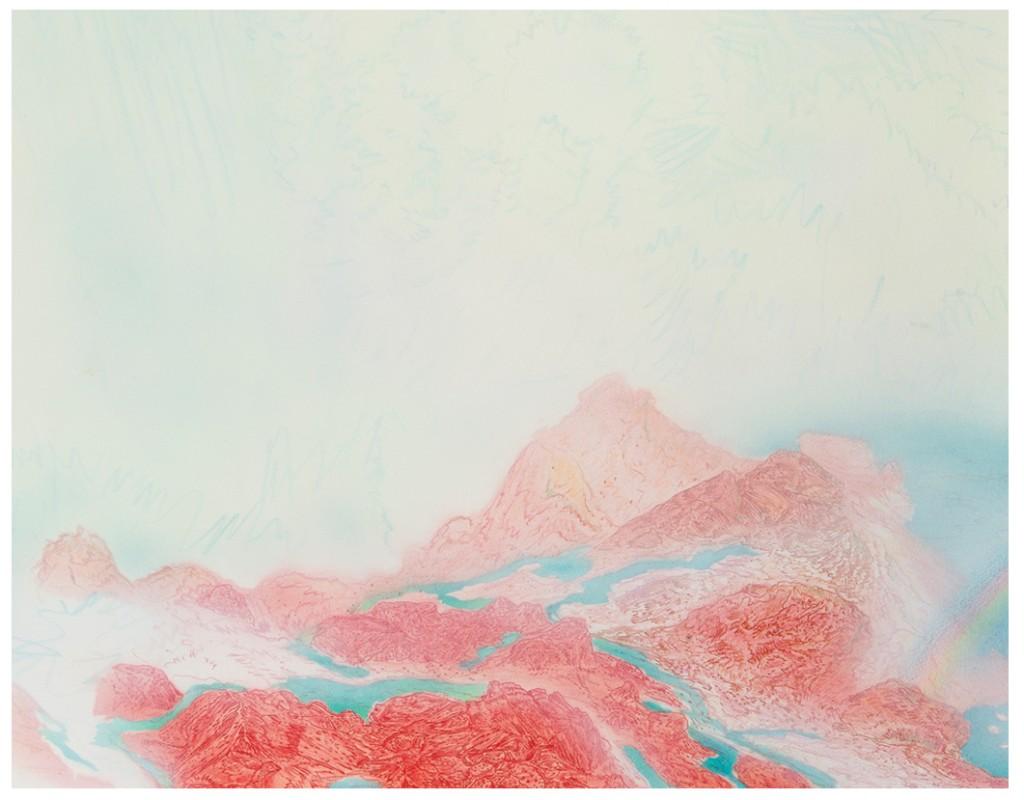 <em>cascade,</em> (detail) colored pencil, watercolor and acrylic paint, 52