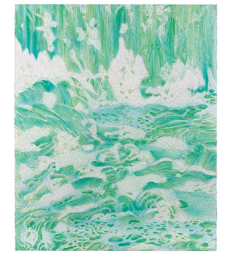 <em>fluorescent west,</em> colored pencil, watercolor and acrylic paint, 52