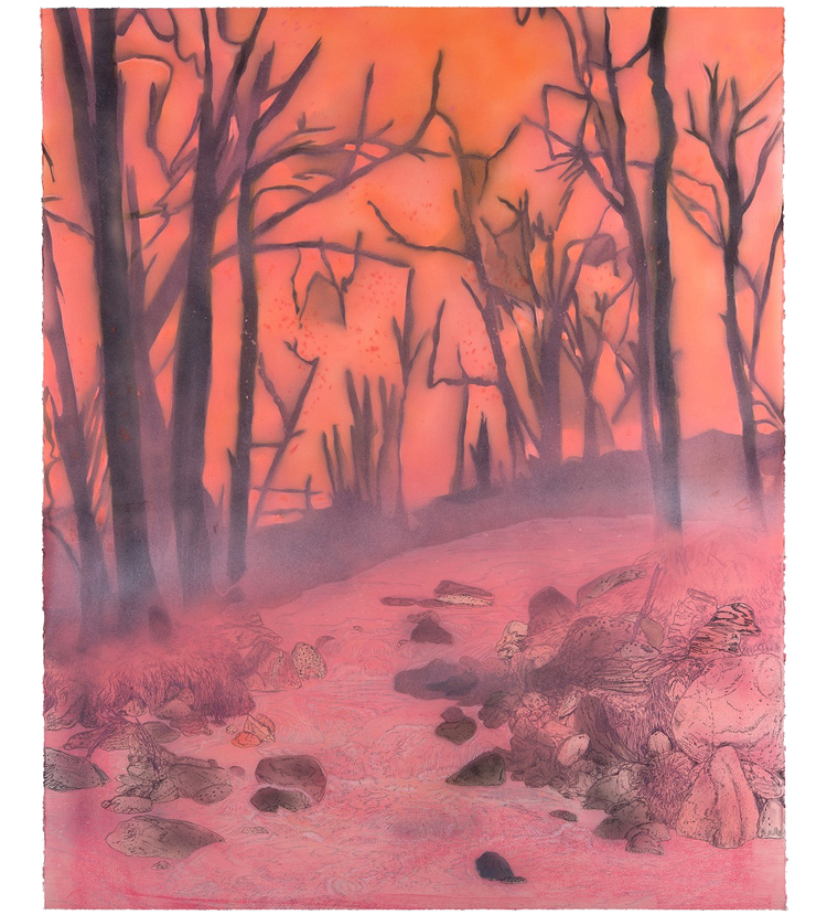 <em>iron creek,</em> colored pencil, watercolor and acrylic paint, 52