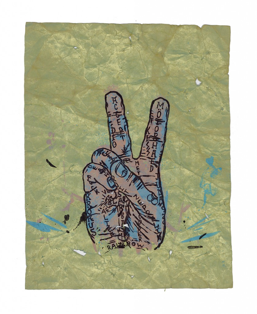 "&nbsp;&nbsp;&nbsp;&nbsp;&nbsp;&nbsp;&nbsp;&nbsp;&nbsp;&nbsp;&nbsp;&nbsp;<em>peace metal,</em> archival inkjet & lithography, 11.5"" x 9"""