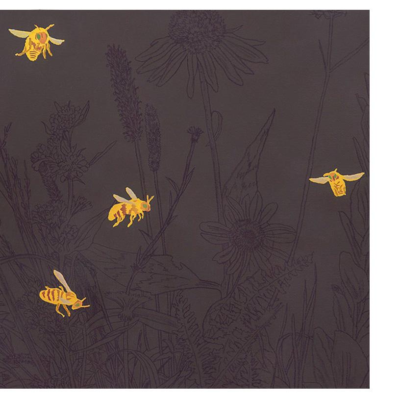 <em>great piece of prairie,</em> (detail) acrylic, gesso & colored pencil on linen, 54