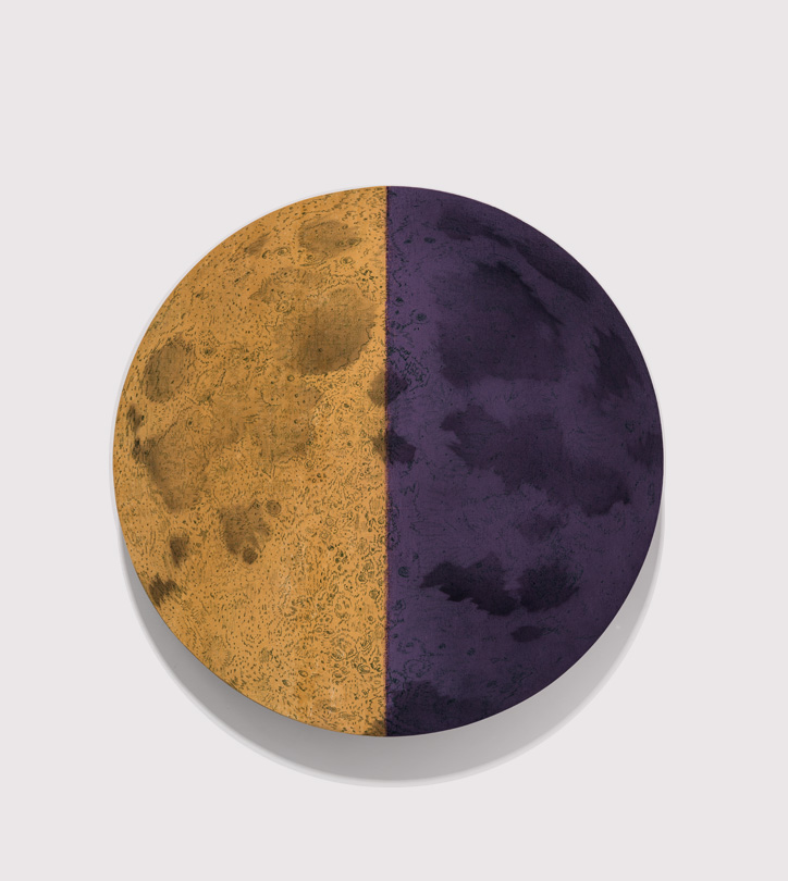 <em>7 day moon, </em>acrylic, gesso & colored pencil on linen, 22