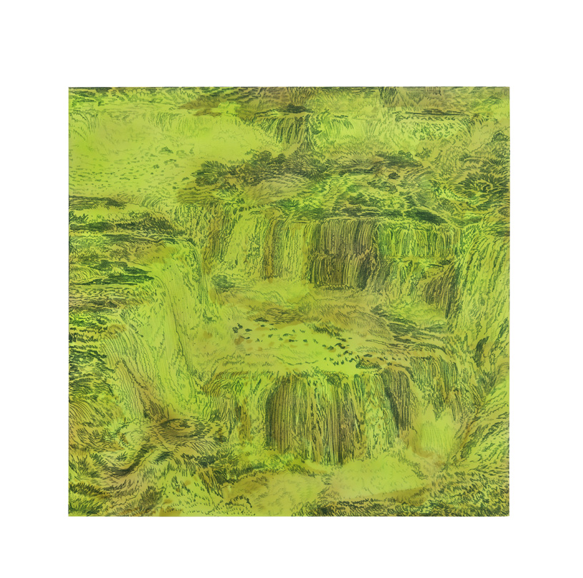 <em>waterfall green, </em> acrylic, gesso & colored pencil