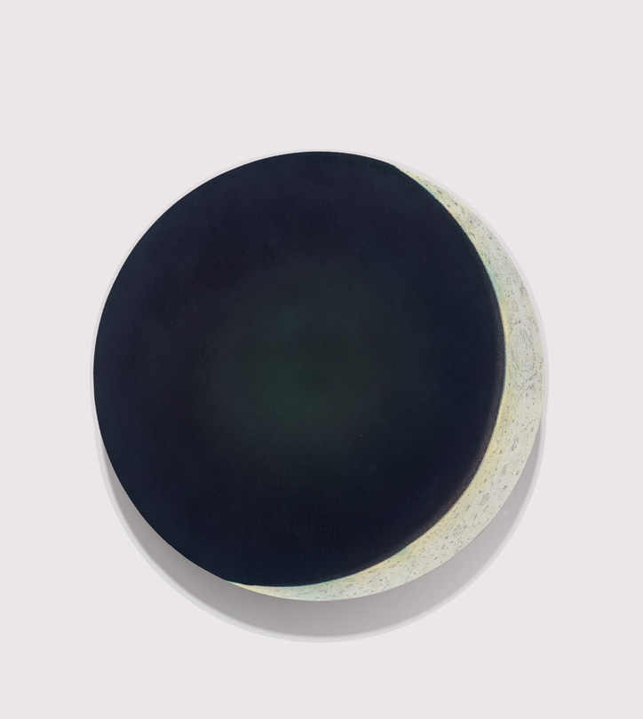 <em>3 day moon, </em>acrylic, gesso & colored pencil on linen, 22