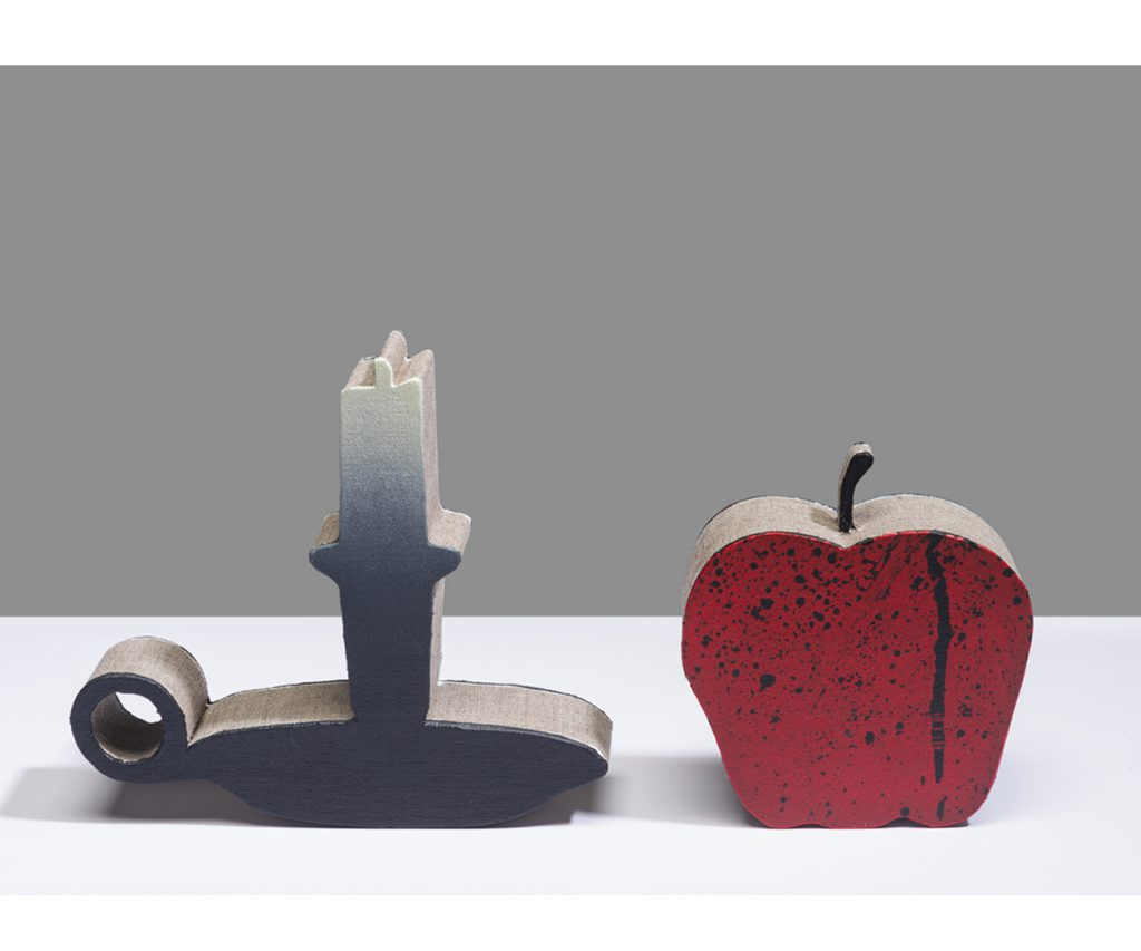 &nbsp;<em>candle n apple,</em> double sided / acrylic on linen,