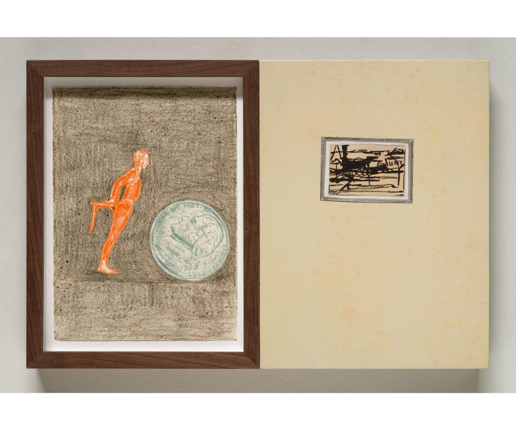 <em>merce, tom & franz,</em> acrylic on linen, colored pencil on paper, 12