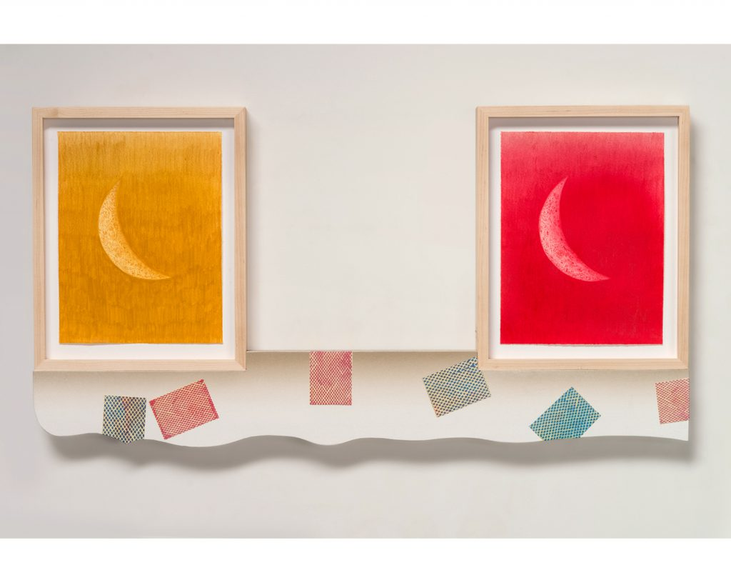 <em>two moons on the river,</em> acrylic on linen on shaped panel & colored pencil on paper w/ custom frame inlaid w/ walnut and quarter moon 19