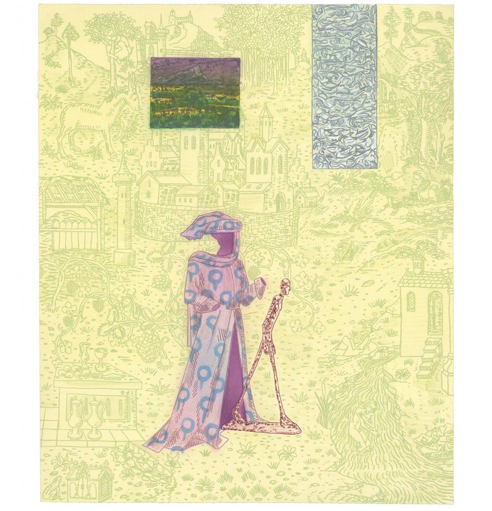 <em>interior, (wizard),</em>colored pencil on paper, 24